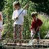 From left, Julia Piver, 5, of Marblehead, Ila Pavit, 5 of Salem, Andrew Piver, 3, of Marblehead, and Sofia Castallo, 4, of Beverly, search for worms in the digging area at the The Long Hill ChildrenÕs Garden Friday morning. Photo by Deborah Parker/August 29, 2009