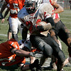 Beverly: Salem's Melikke VanAlstyne looks to escape the tackle by Salem's Justin Marrs during Thursday's Thanksgiving Day game held at Hurd Stadium. Photo by Deborah Parker/Salem News Thursday, November 27, 2008.