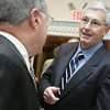 Peabody: Jim Nagle of Naples FL., a Peabody High School Athletic Hall of Fame Honoree, chats with comittee member Leo Esindle of Peabody during the cocktail hour of the Hall of Fame Ceremony held at the Jimmy Allenhurst Function Center Friday evening.<br /> Photo by Deborah Parker/Salem News Friday, November 28, 2008