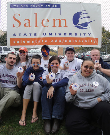 This week students will be celebrating Salem State's new title, Salem State University with events happening around campus. Front row from left, James Zorabedian, Gabby Arsenault, Rachel Kaye and Beatrice Rios. Back row from left, Nicole Haughey, Ryan Chamberland, Jeremian O'Toole, and Paul Robbins. Photo by deborah parker/october 25, 2010