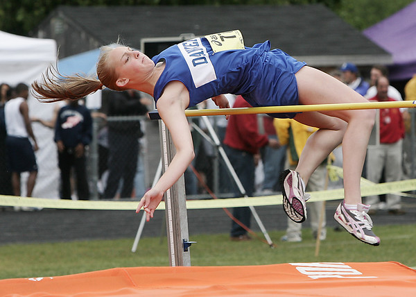 Danvers Liz Burgess competes in the high jump during the Division 3 State Track Meet held at Ipswich High School Friday. pHoto by Deborah Parker/May 29, 2009