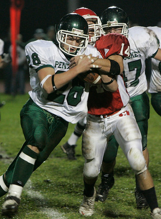 Boxford: Pentucket's (*there was no 28 on roster) against Masconomet's Chris Splinter during last night's game held at Masco. Photo by Deborah Parker/Salem News Friday, November 7, 2008.