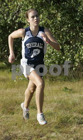 Topsfield: Masco's Danny Powers makes her way towards the finish line to place first in Hamilton-Wenham's meet against Masco at Bradley Palmer State Park Thursday afternoon. Photo by Deborah Parker/Salem News Thursday, September 04, 2008