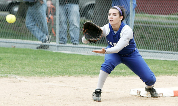 Danvers: Danvers' Alicia Dean makes the out during yesterday's game against Beverly held in Danvers. Photo by Deborah Parker/Salem News May 01, 2009