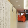 A classroom list was hung in the entryway of the new Beverly High School building to help students find their classes on the first day in the new building. photo by deborah parker/november 30, 2010