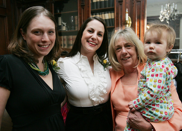 Jen Pieroni of Lifebridge, Adrienne Folwer of LIfebridge, Fowler's mother, Barbara MIchalowski of Beverly and Fowler's daugther, Delilah, pose for a photograph at the Lifebridge Fashion Show held at the Nathaniel Silsbee House Thursday evening. Photo by Deborah Parker/April 15, 2010