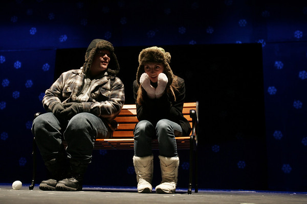 Justin Timmy Cimon and Sarah Athas rehearse a scene from Almost, Maine, a play being put on by students at Peabody High School, during dress rehearsal Thursday afternoon. Performances will be this weekend, November 19th and 20th at 7:00p.m. at the high school. photo by deborah parker/november 18, 2010