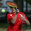 Marblehead's Justin Hyte  competes in yesterday's match against St. John's Prep held in Danvers. Photo by Deborah Parker/May 11, 2010