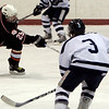 Peabody: Beverly's Ryan Karp takes a shot on goal during Saturday's season opener held at McVann-O'Keefe Rink against Peabody. Photo by Deborah Parker/Salem News Saturday, December 13, 2008.