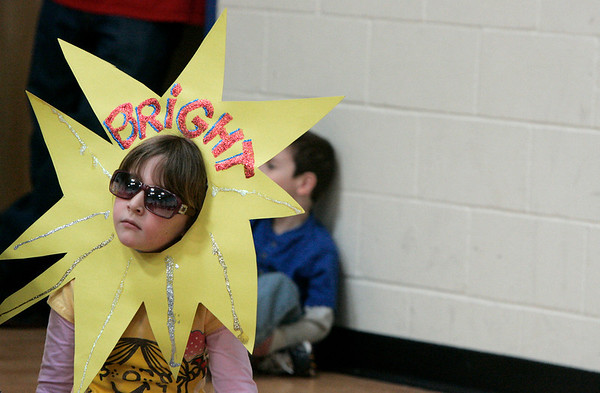 Salem: Madeline Hamel, a first grade student at Carlton Elementary dressed as her vocabulary word, bright for the schools vocabulary parade Wednesday. Students dressed as their vocabulary words, while teachers made their students guess what word they were dressed as. Photo by Deborah Parker/Salem News Wednesday, February 11, 2009.
