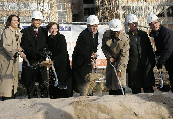 From left, Salem Mayor Kim Driscoll, Salem State University student Angel Donahue-Rodriguez, State State University President Patricia Maguire Meservey ,Executive Office of Education secretary, Paul Reville, Massachusetts Board of Higher Education Chair, Charles Desmond, Sidney Bowen of  Shepley Bulfinch and State Representative John Keenan break ground on the new library and learning commons at Salem State University Tuesday afternoon. Photo by deborah parker/december 7, 2010