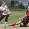 Salem's Shyla Maloney slides into second against Chelmsford's Clancy Taylor during yesterday's Division 1 North first round state trounament softball game held at Mack Park in Salem. Photo by Deborah Parker/June 3, 2010