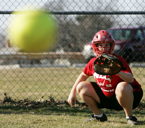 Salem's Rachel Channen works on a drill during practice at Mack Park Friday afternoon. Photo by Deborah Parker/March 19, 2010