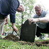Bill Heitz of Hamilton and Chales Wainwright a historian and archivist for the First Parish Church in Beverly place a headstone in the Old South Burial Ground for toddler Mary Presson, who died at the age of two in 1759. The gravestone, which had been missing since the cemetery was dug up in 1868, had been given to Heitz who would use it for history lessons when he was a teacher. Photo by Deborah Parker/June 10, 2009
