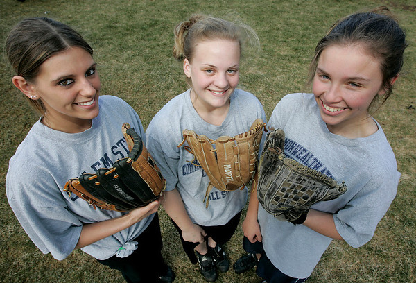 Middleton: From left, North Shore Technical High School standout softball players, Jilian Tentindo, Nicole Comppen, Emily Pontes. Photo by Deborah Parker/Salem News Friday, March 27, 2009.