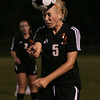 Danvers: Beverly's Jess Shaw heads the ball during the Panther's game against Danvers Thursday night at Deering Stadium. Photo by Deborah Parker/Salem News Thursday, September 25, 2008