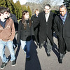 Governor Deval Patrick walks with Essex Agricultural and Technical High School Superintendent and Director, Roger Bourgeois along with seniors ShanutŽ Killam of Salem and David Lane of Ipswich while he was touring the school Friday morning. Photo by Deborah Parker/December 11, 2009