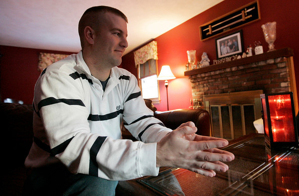 Ipswich: Sean Donahue, 29. a retired Army Captian, speaks about his recovery from a car accident he experienced while based in Georgia four years ago. Donahue suffered a traumatic brain injury along with several other physical injuries. He has made siginificant strides in his recovery. Photo by Deborah Parker/Salem News Thursday, January 29, 2009.