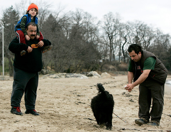 Beverly: Eddy Gomez, of Beverly plays with his dog while his son Maximiliano, 6, sits on the shoulders of his grandfather, Ruben Gomez, visiting from L.A., as the family visited Dane Street Beach during unsually warm weather Sunday afternoon. Photo by Deborah Parker/Salem News Sunday, December 28, 2008.