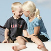 Cade, 3, and Susannah Cornell, 6, of Salem get ready to slide down a bouncy slide during Kid's Night at the Salem Commons, part of Salem Heritage Days. Photo by Deborah Parker/August 7, 2009