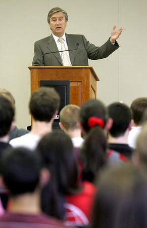 Congressman John Tierney spoke to a group of students at Danvers High School about the importance of the Census yesterday morning. Afterwards he took questions from the students, ranging from the economy to climate change. Photo by Deborah Parker/April 7, 2010