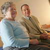 Danvers: Stephen Ruoff sits and chats with his mother Louella Cummings while visiting with her  at Heritage at Danvers. Photo by Deborah Parker/ Salem News Tuesday, October 28, 2008.