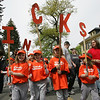 From left, Lindsay Russell, 8, Deanna Zeuli, 7, Katelyn Cark, 8, and Mackenzie Russell, 6, all of Salem hold up the letters I, C, K, S, for team name Knicks, during the Annual Salem Little League Parade Sunday morning. Starting at Salem State College, the parade crossed Lafayette Street and ended at Forest River Park. Photo by Deborah Parker/April 25, 2010