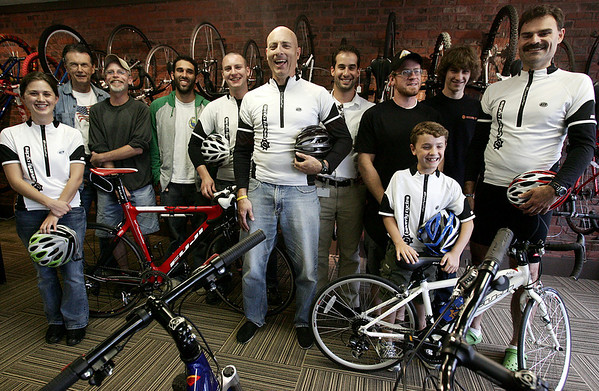 Bill Kerr, center, owner of Beverly Cycles, regularly organizes bike rides that leave from his store. The bike group from left, Katelyn Schofield of Beverly, Kay Taylor of Hamilton, Steve Hills of Beverly, Ben Padilla, Gordon College student, Will Kerr of Salem, Bill Kerr, owner of Beverly Cycles, Adam Sablich of Haverhill, Ben Sawyer of Wenham, Tom Wellwood of Hamilton, Marcus Petter, 9, of Hamilton and his dad, Tom Petter. Photo by Deborah Parker/September 10, 2009