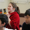 Sixth grade student, Olivia Huth giggles as she participates in vocabulary game during German class at Briscoe Middle School. Photo by Deborah Parker/February 2, 2010