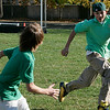 Beverly: A group of ninth grade students from Shore County Day School took advantage of the crisp fall afternoon Thursday to play a game of tag football. From left is Sky Williams of Manchester and Jared Lewis of Peabody. Photo by Deborah Parker/Salem News Thursday, October 30, 2008.