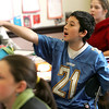 Sixth grade student, John Loreti, participates in vocabulary game during German class at Briscoe Middle School. Photo by Deborah Parker/February 2, 2010