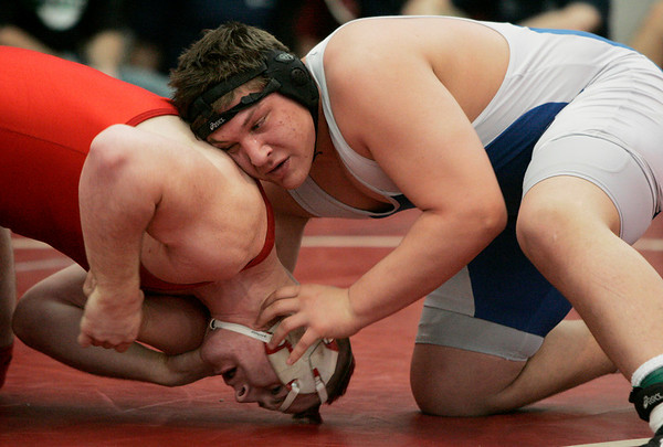 Salem: St. John's Kevin Poplaski wrestles with Melrose's John Dunne in the 285 lbs match during the All-State Wrestling Championships held at Salem High School Saturday. Photo by Deborah Parker/Eagle Tribune Saturday February 28, 2009.