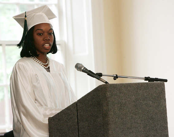 Salem Academy Charter School valedictorian Michelle Aroko delivers a speech during the school's graduation ceremony held at Old Town Hall in Salem. This was the first year that the school graduated a class totally seven students. Photo by Deborah Parker/June 19, 2009