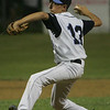 Peabody's Ben Irvine throws out a pitch during yesterday's Gallant Memorial Baseball tournament game against Danvers held at Forest River Park in Salem. Photo by Deborah Parker/August 16, 2010