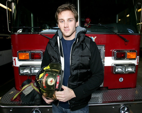 Peabody firefighter Kevin Pasdon has a fledgling acting carrer. He's appeared twice on One Life to Live and will tomorrow appear on As the World Turns as an EMT. Photo by Deborah Parker/January 11, 2009