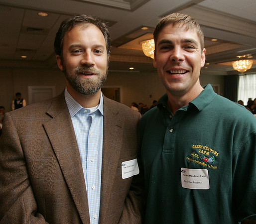 From left, James Harrison, North Shore Site Director for The Food Project and Andrew Rodgers of Grean Meadows Farm, attend the Economic Impact of Energy and Agriculture on the North Shore Public Policy Breakfast forum, sponsored by the North Shore Chamber of Commerce, held at the Salem Waterfront Hotel in Salem Wednesday morning. Photo by Deborah Parker/Juy 14, 2010