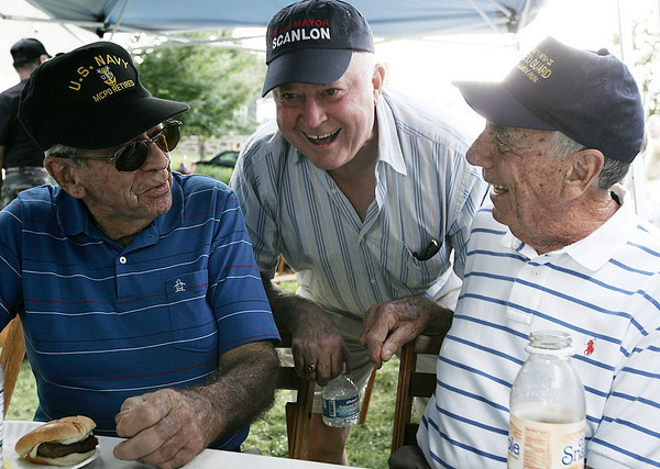 Mayor Bill Scanlon chats with Davis Guerdon, left, and Silvio Salvanelli, both of Beverly during the Veterans Cookout at Lynch Park Friday afternoon, as part of Beverly Homecoming. Photo by Deborah Parker/August 7, 2009