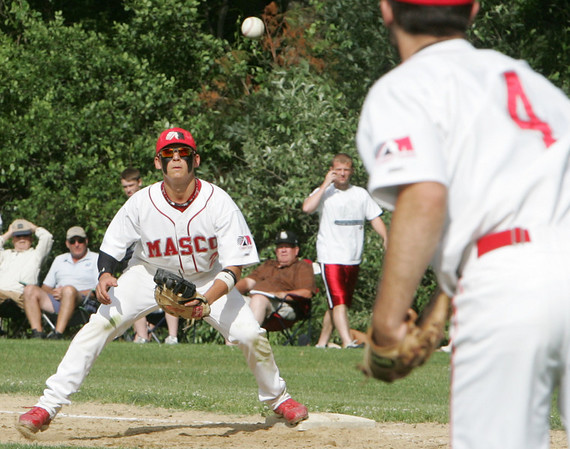 Masco's Gabe Dunn throws to first to Braden Kowalski for the out Monday's Division 2 North quarterfinal's state tournament game against Wilmington held in Topsfield. Photo by Deborah Parker/June 7, 2010