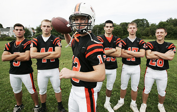 Beverly quarterback Mark Hannable along with, from left, Mark Theriault, Steve Dubois, Curtis Manuel Justin Marrs and Dylan Terry. Photo by Deborah Parker/August 29, 2009