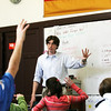 Michael Brune leads a sixth grade German class at Briscoe Middle School. Photo by Deborah Parker/February 2, 2010