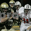 Peabody: Bishop Fenwick's Dan Kennedy pushes his way past Salem's defense during last night's game held at Bishop Fenwick. Photo by Deborah Parker/Salem News Friday, September 19, 2008