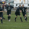 Salem: St. John's Prep celebrates after scoring their first goal in yesterday's MIAA tournament action, against Salem. St. John's won the game 3-1. Photo by Deborah Parker/Salem News Friday, November 07, 2008