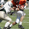 Beverly : Beverly's Mark Hannable sacked by Lynn Classical's Darrell Lane during yesterday's game held at Hurd Stadium. Photo by Deborah Parker/Salem News Saturday, September 20, 2008
