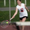Salem's Michaela Gaffney competes against Marblehead's Megan Stanojev in second singles in yesterday's match held at the Salem Willows. The match was cut short due to rain. Photo by Deborah Parker/May 3, 2010