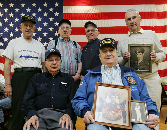 Honor Flight New England is flying six veterans from the Portuguese Veterans Post in Peabody to DC for the day on Saturday. From left, back row, Tony Santos, Tony Pimenta, Joe L. Silva, America Martin. From left, front row, Joe Ortins, and Henry Coito. Photo by Deborah Parker/April 16, 2010
