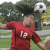 Marblehead: Salem's Jessica Ngo heads the ball towards Marblehead's goal during yesterday's game at Marblehead.<br /> Photo by Deborah Parker/Salem News Friday, October 03, 2008