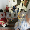 Salem: New kindergarten students of Horace Mann Laboratory School make their way through the school's halls to the library where they were read a story by teacher Judy Borden. The tour was part of an orientation for the new students who will start school for the first time on Monday. Photo by Deborah Parker/Salem News Thursday, September 04, 2008