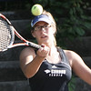Gordon College's Kate Kirby competes in a doubles game against Bridgewater State College at Gordon yesterday afternoon. Photo by Deborah Parker/September 3, 2009