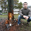 Michael A. Scalia, 24, of Danvers, pulled a woman from her burning car after it crashed in front of his home early Wednesday morning. Photo by Deborah Parker/November 24, 2009