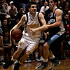 Chelsea: Bishop Fenwick's Brett DiPanfilo defended near the hoop during last night's Division 3 North semifinals game against Wilmington at Chelsea High School. Photo by Deborah Parker/Salem News Thursday, March 5, 2009.